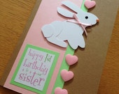 Pop Up Rabbit Baby Daughter/Son/Sister/Brother Birthday Card - With Pink or Blue accents