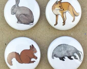 woodland animal magnets (set of four)