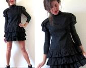 Vintage 80s 90s Polka Dot Puffy Sleeve Tiered Ruffled Mini Dress (size medium, large)