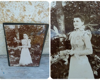 Vintage Antique 1890 French photographic image Lady in her garden photography