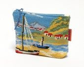 Vintage Needlepoint Cosmetic Bag - zippered pouch