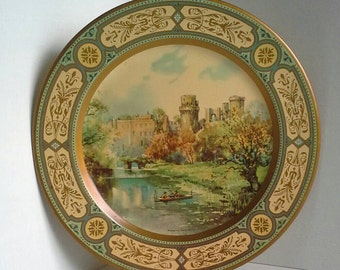 Warwick Castle Tin Plate 6MB England Litho Metal Tray Dish