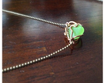 Green Seaglass Brass Ball Chain Artifact of Atlantis Necklace