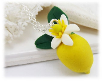 Petite Flowering Lemon Necklace - Fruit Jewelry Collection, Gift for Gardener