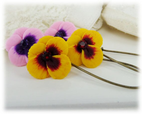 Single Pansy Drop Earrings - Assorted Earwires, Pansy Earrings, Pansy Jewelry, Viola Earrings, Viola Jewelry, Flower Jewelry