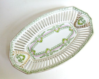 Antique RW Bavaria Reticulated Oval Bowl, Pierced Porcelain Serving Bowl