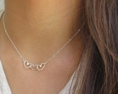 Heart Necklace,Silver Heart Charm Necklace,Friendship Necklace, Grandma Mom & Daughter, choose your hearts,Best Friends, Bridesmaid Necklace