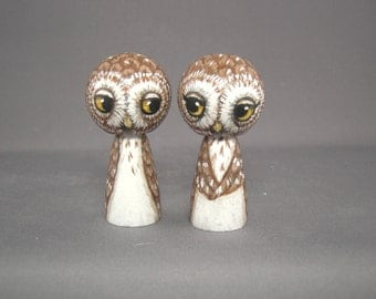 Owl Wedding Cake Topper Kokeshi Dolls