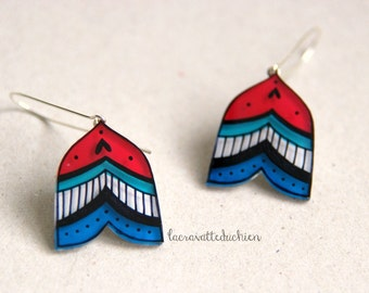 Arrow dangle earrings, red and blue abstract earrings, striped doodle jewelry, gift for her