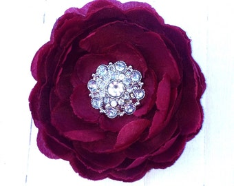 "Maroon Flower Clip 4"" Maroon Ranunculus Hair Clip Rhinestone Flower Clip Wedding Bridesmaid Flower Girl Wine Hair Clip Bridal Sash Pin"