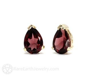 Gemstone Earrings Garnet Earrings Pear Studs Birthstone Earrings 14K Gold Peridot Amethyst Citrine Garnet Morganite Blue Topaz Post Earrings