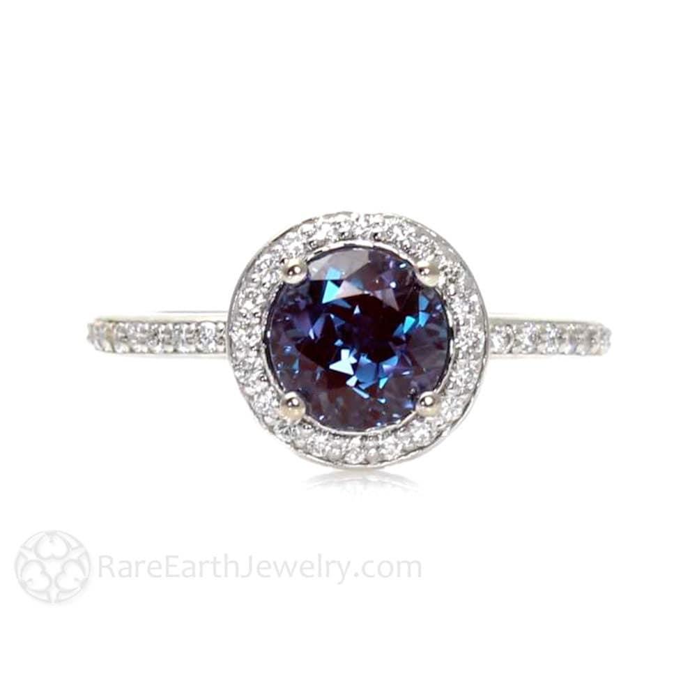 Platinum Alexandrite Ring Diamond Halo Setting Alexandrite