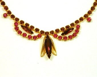 Vintage Rhinestone Choker Necklace, Princess Style with Magenta and Burgundy colored Rhinestones, Gorgeous! Unique Gold Tone, 1960s, Costume