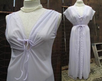 Vintage Lace Peignor Lilac 70s Negligee Vintage Sheer chiffon robe Peephole nylon nightgown Vintage Wedding Peignoir set  M L