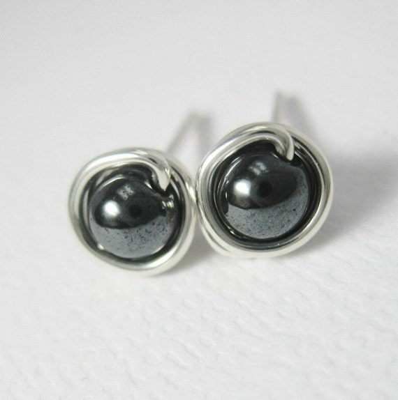 Mini Stud Earrings Hematite and Sterling Silver Wire Wrapped 4mm -- Great for Men or Women
