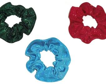 Metallic Hair Scrunchie Dancewear Swimwear Spandex Fabric Scrunchies by Sherry Red Green Turquoise Teal Blue