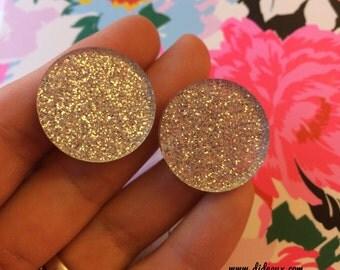 GLITTER CIRCLE STUD earrings laser cut