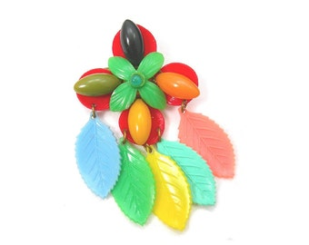 Art Deco Brooch, Early Plastic Flower and Dangling Leaves, Vintage c1940s Colorful Costume Jewelry