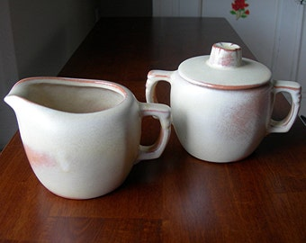 Frankoma Cream & Sugar, Plainsman in Desert Gold, 5A and 5B, Red Clay, Vintage Kitchen Pottery, Southwest Dining, Made in Oklahoma, Western
