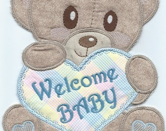 Large Baby Teddy Birthday Bear  Applique  machine embroidered