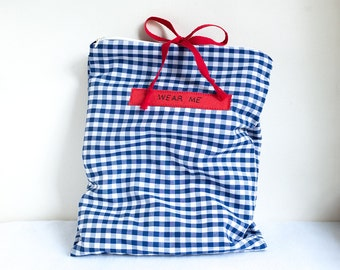 Travel Underwear Bag, Blue and White Gingham