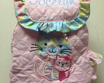 Kitty Toddler Girl Backpack with Mommy & Me Kitty Applique' Choose Your Fabrics for the Kitty Applique's and Trim CUSTOM HANDMADE