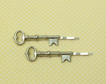 Skeleton key hair pins silver bobby pins retro  hair slides vintage style victorian