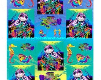 Lisa Frank Rainbow Reef Leopard Seal Sticker Sheet S278  vintage tropical fish