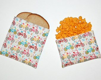 Bicycle Ride - Eco Friendly Reusable Sandwich and Snack Bag Set