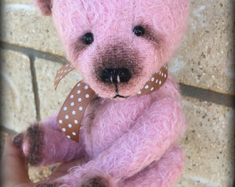 """ROSE TED - pink mohair artist teddy bear KIT - 9"""" tall when completed"""