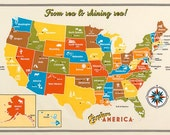 Explore America fabric by Robert Kaufman and Fabric Shoppe - Explore America Panel Map of US, Wall art  for bedroom or homeschool