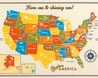 50% SALE Explore America fabric by Robert Kaufman and Fabric Shoppe - Explore America Panel Map of US, Wall art  for bedroom or homeschool