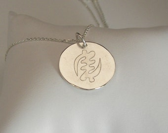 Silver etched Adinkra necklace #1