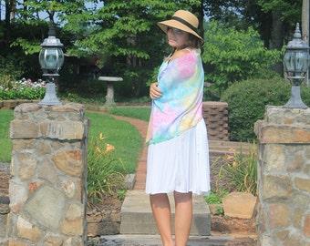 Rainbow ... hand painted silk wrap, shawl
