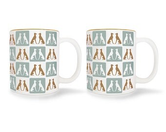 SPECIAL EDITION: Set of 2 Greyhound Mugs with Gold Trim