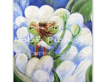 Original, Whimsical,  Painting on Canvas, Morning Fairy, 8x10