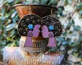 Afro Earrings, Natural Hair Earrings, Afrocentric Earrings, African Earrings, Wood Earrings, I Love My Afro Wood Silhouette Earrings