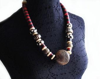 African Necklace, Tribal African Necklace, African Beaded Necklace, Bone Bead Necklace, For Her, Manyara African Bead Statement Necklace