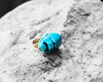 Egyptian Ring, Scarab Ring, African Ring, Egyptian Jewelry, Statement Ring, Wire Wrapped, Size 5, Khepri Egyptian Scarab Wire Ring