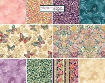 "SQ100 Peggy Toole Tuscan Wildflower Garden Precut 5"" Metallic Charm Pack Fabric Quilting Cotton Squares Robert Kaufman CHS-379-42"