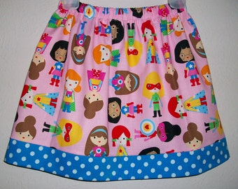 Twirl Skirt Super Girls Pink by Robert Kaufman Super Hero Party Turquoise Dots toddler girl dress Kids Clothes