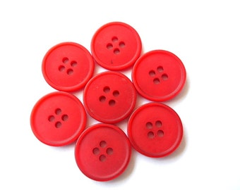 6 Vintage buttons red circle pattern 19mm