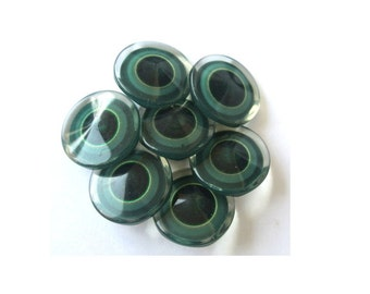6 Plastic buttons , new buttons, green shades cover with translucent plastic 18mm