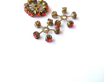 2 SWAROVSKI CRYSTAL beads, vintage,  flower shape brass setting with dark orange crystals- RARE