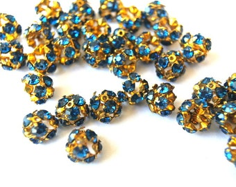 6 Vintage Swarovski beads blue crystals rhinestone mounted on metal mushroom shape, half ball shape, cap shape