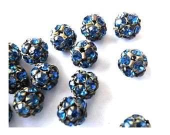 2 Vintage SWAROVSKI BEADS 11mm, blue crystals in brass setting creating ball bead