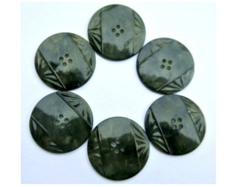 6 buttons, antique vintage plastic buttons art DECO, green, 34mm, beautiful buttons