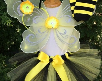Girl Bumble Bee Costume - Bee Tutu Costume - Yellow and Black - Wings, Antenna and Leg Warmers