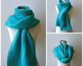 Turquoise Wool Hand Knit Scarf, Huge, Man Scarf, Womens Scarves, Wrap, Shawl, Long, Blanket, Oversize Scarf, Chunky Knit Scarf, Cyan Scarf