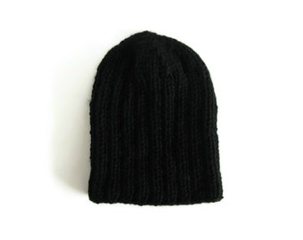 Slouchy Beanie Hat Knitted in Black Soft Wool Blend